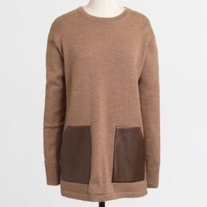 J. Crew Merino Wool Tunic Sweater Pockets Tan